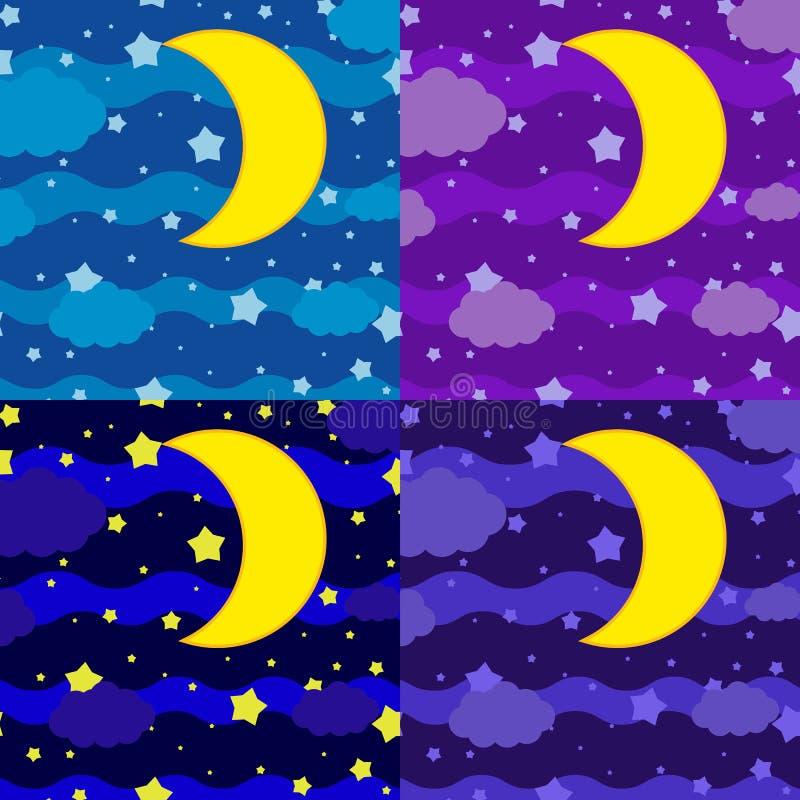 En upps?ttning av fyra bilder Månen mot bakgrunden av en mörk himmel av olika skuggor med moln och stjärnor royaltyfri illustrationer