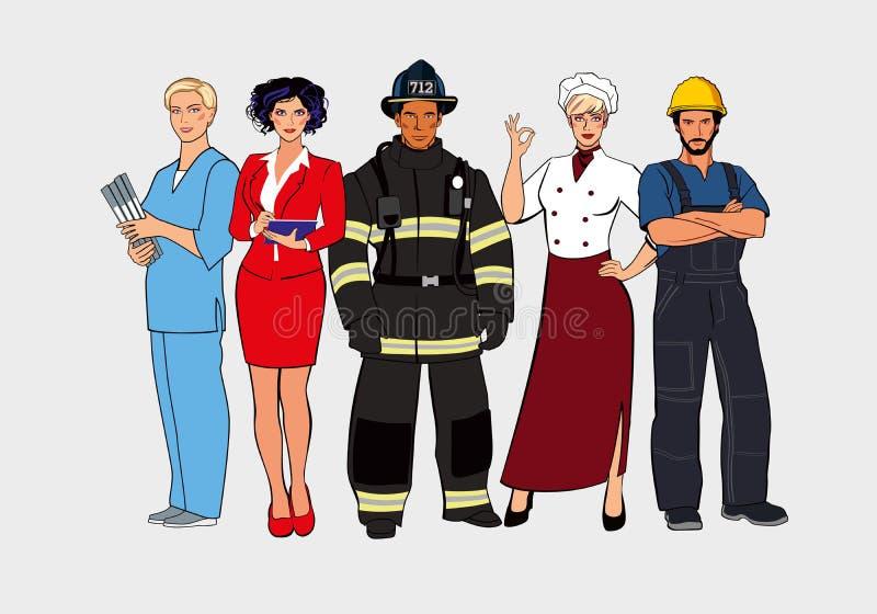 En upps?ttning av olika yrken Diagram av män och kvinnor av olika aktiviteter stock illustrationer
