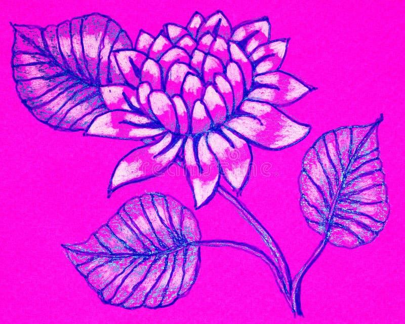 En utdragen bild för hand av en dahlia royaltyfri illustrationer