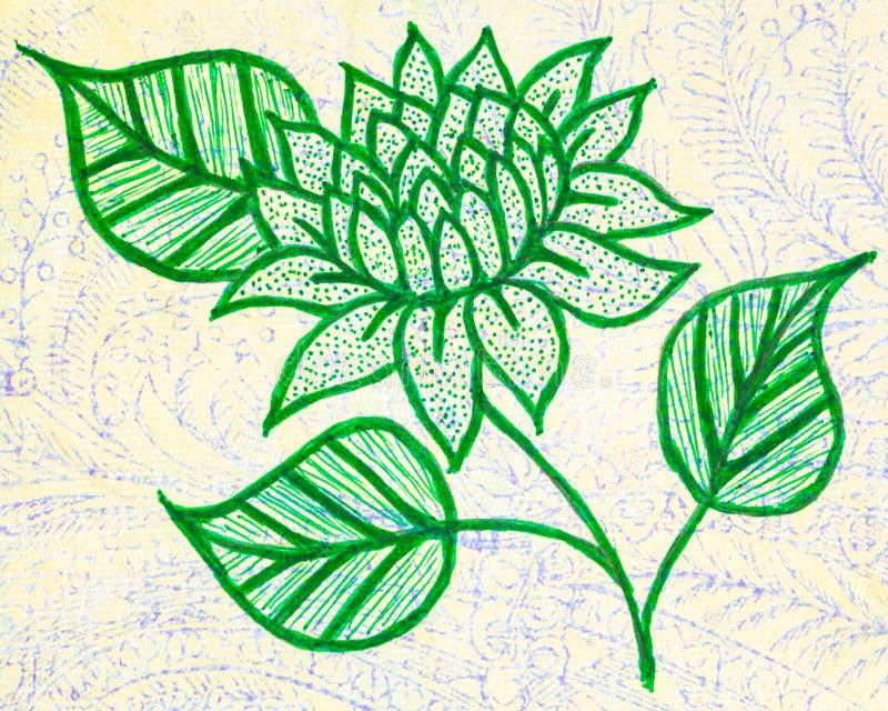 En utdragen bild för hand av en dahlia stock illustrationer