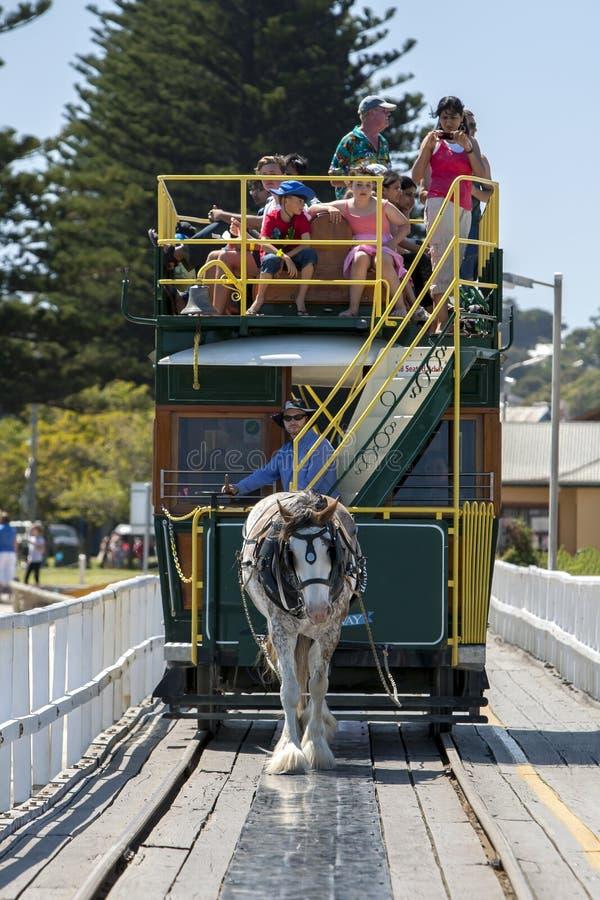 En utdragen spårvagn för häst i södra Australien arkivfoton