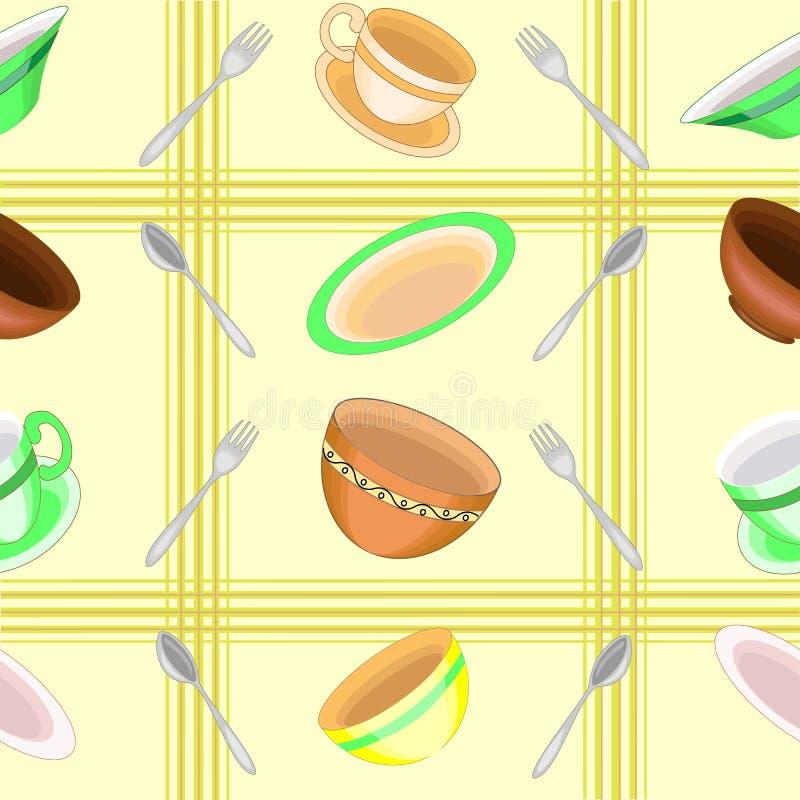 En utsmyckad modell Härlig disk, bunkar, koppar, skedar, gafflar Passande som tapeten i köket, som en bakgrund för att förpacka royaltyfri illustrationer