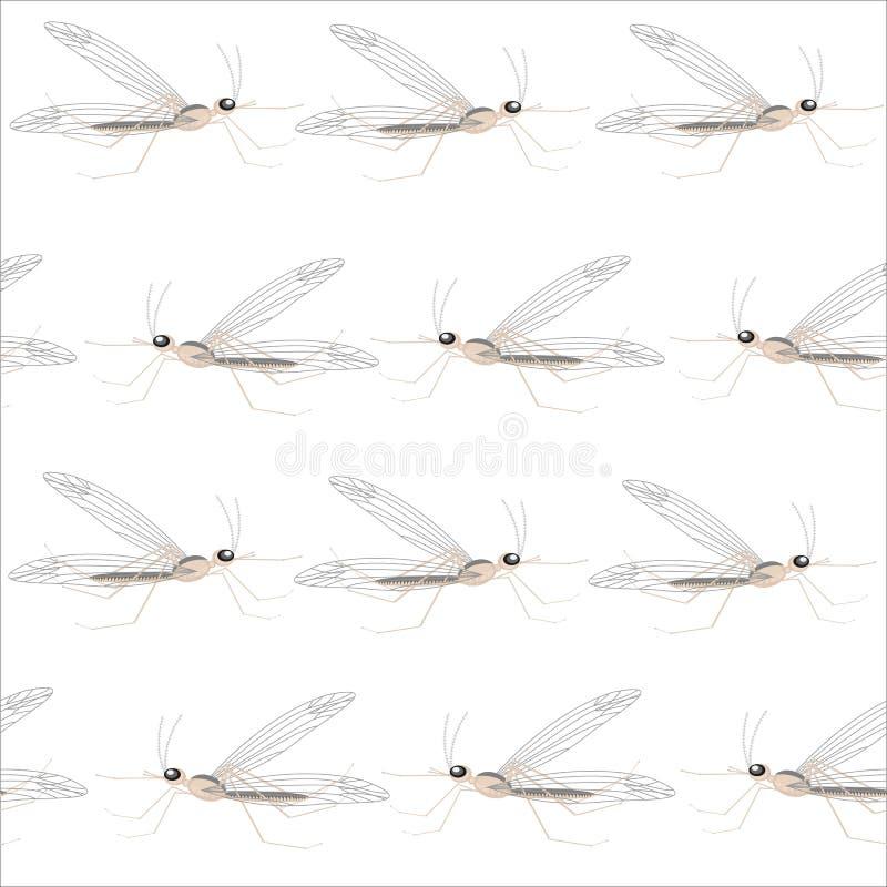 En utsmyckad modell Myggor som flyger i rader Passande som original- förpacka, tapet, bakgrund, textur Mygga painfully royaltyfri illustrationer