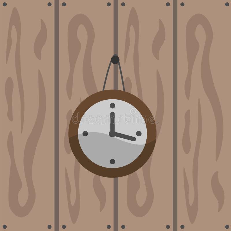 En väggklocka på en brun träbakgrund Klockor för en runda också vektor för coreldrawillustration vektor illustrationer