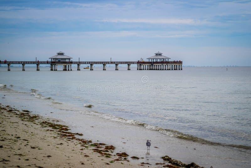 En välkänd fiska pir i Fort Myers, Florida royaltyfri bild