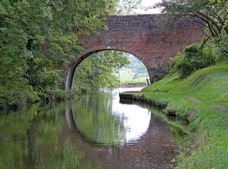 En välvd bro på den storslagna unionkanalen på Lapworth i Warwickshire, England royaltyfri fotografi