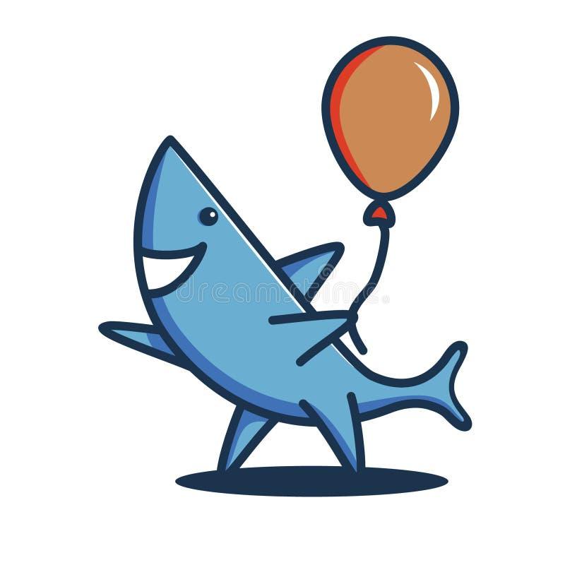 En vänlig haj som rymmer en ballong och avfärda Logo eller gemkonst arkivbild