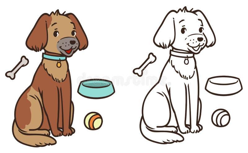 En vänlig hund med en krage sitter kontur och colorized vektor illustrationer