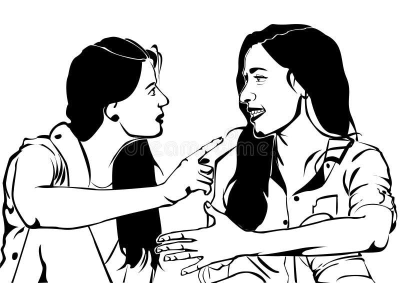 En vänlig pratstund och något skvaller royaltyfri illustrationer