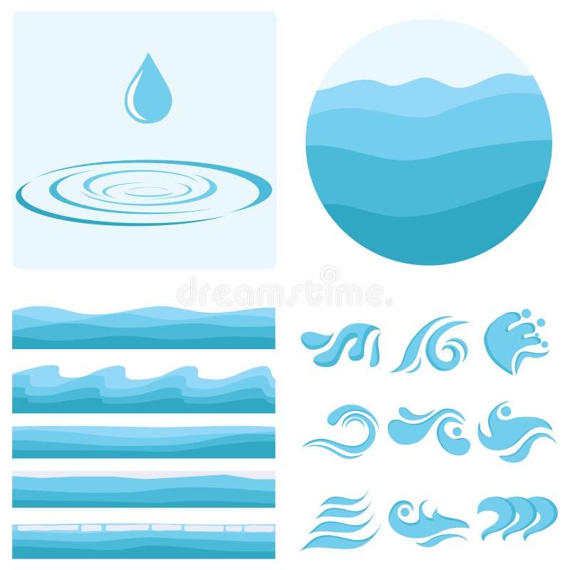 En våg, en droppe av vatten, en uppsättning av vågor Textur av vatten vektor illustrationer