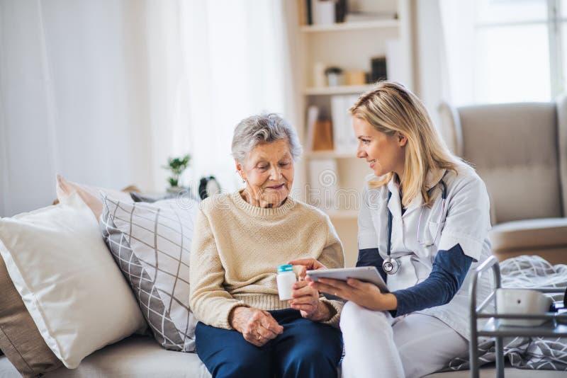 En vård- besökare med minnestavlan som förklarar en hög kvinna hur man tar piller royaltyfri fotografi