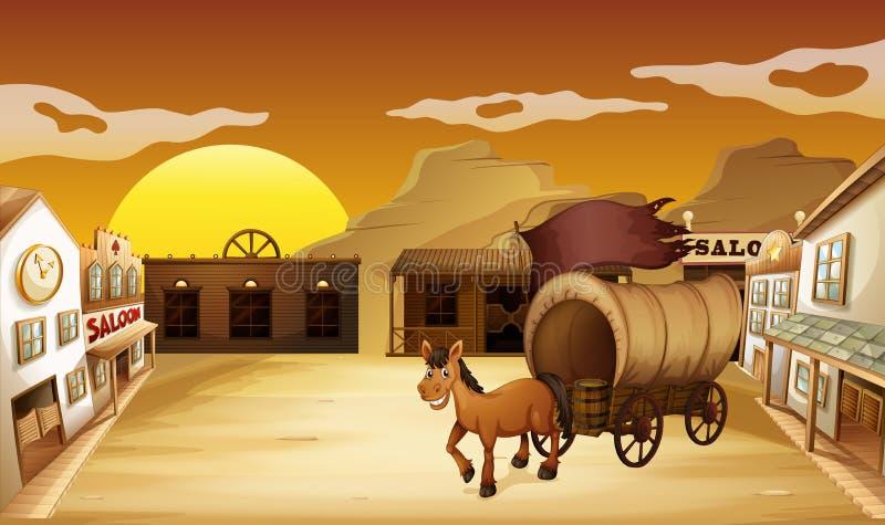 En vagn utanför salongstången stock illustrationer