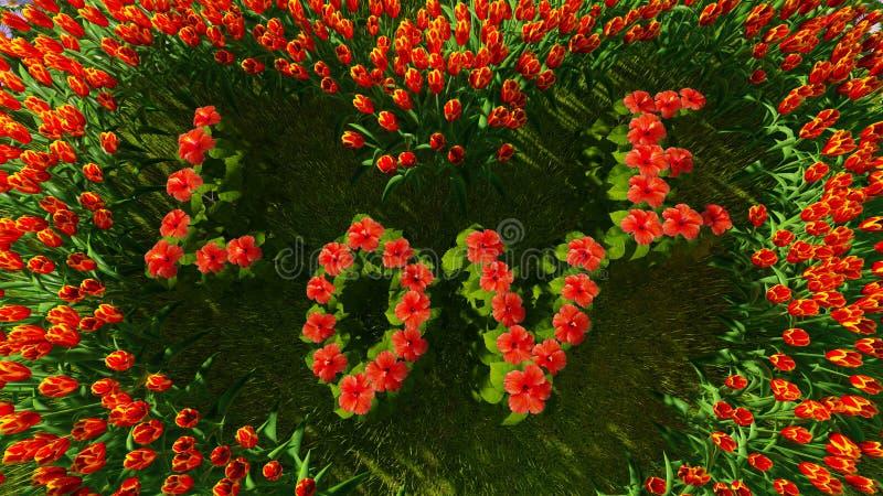 En variation av blommor i formen av en hjärta med ordförälskelsen royaltyfri fotografi
