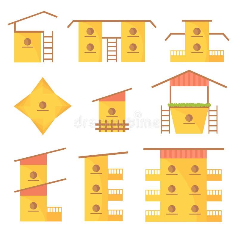 En variation av färgrika hem för fåglar royaltyfri illustrationer
