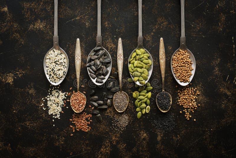 En variation av frö i skedar, chia, lin, pumpa, solros, koriander, sesam, svart sesam på en mörk bakgrund Bästa sikt, kopia royaltyfria bilder