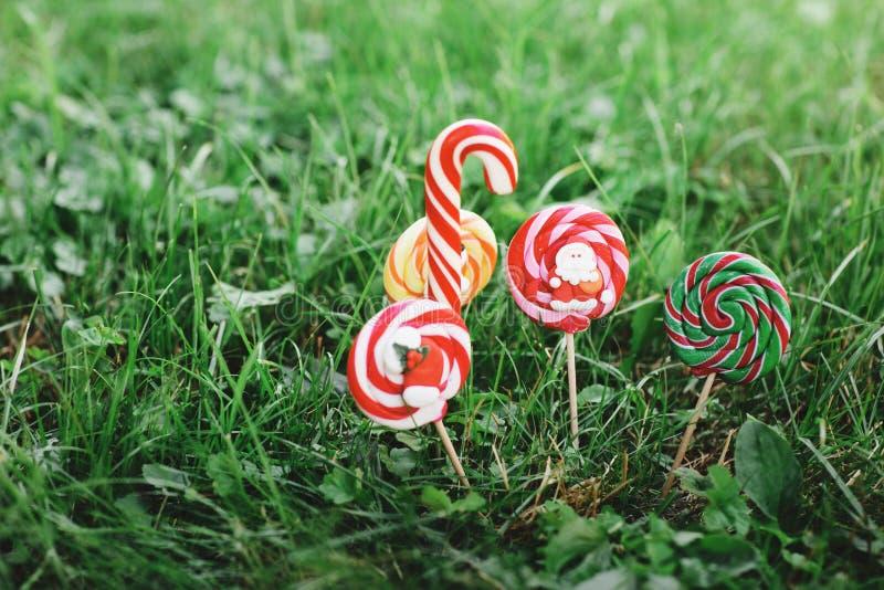 En variation av julgodisar på bakgrunden av grönt gräs Färgade sötsaker från jultomten, snögubben och julsocka arkivbilder