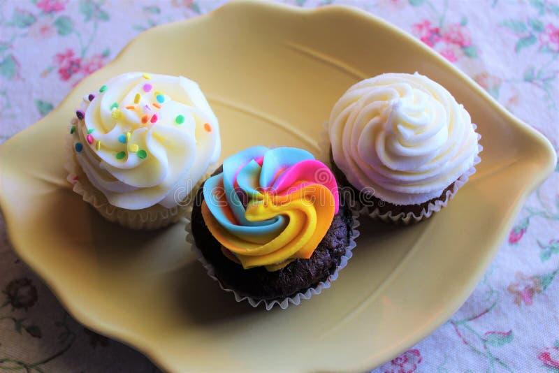 En variation av muffin i en maträtt arkivfoto