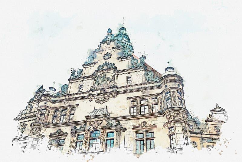 En vattenfärg skissar eller illustrationen Delen av det forntida arkitektoniska komplexet kallade Royal Palace dresden germany stock illustrationer