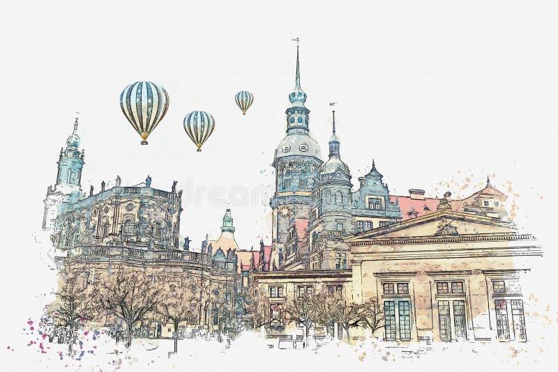 En vattenfärg skissar eller illustrationen Det forntida arkitektoniska komplexet som kallas Royal Palace dresden germany royaltyfri illustrationer
