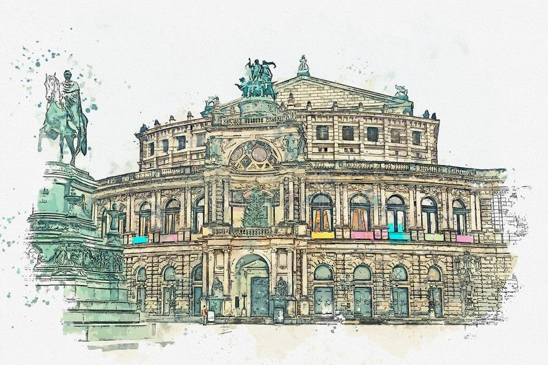 En vattenfärg skissar eller illustrationen Opera Semper i Dresden i Tyskland vektor illustrationer