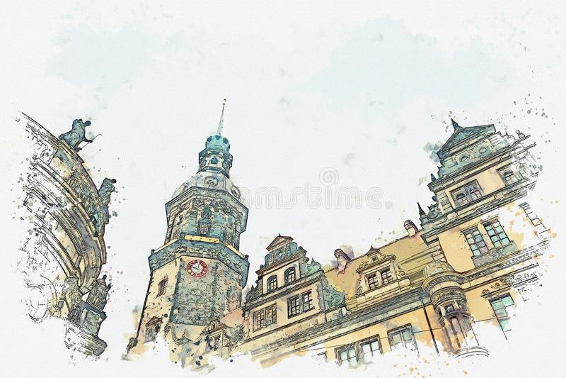 En vattenfärg skissar eller illustrationen Royal Palace och tornet av Gaussmann i Dresden i Tyskland royaltyfri illustrationer