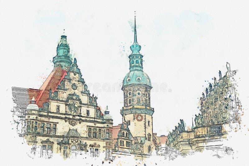 En vattenfärg skissar eller illustrationen Royal Palace och tornet av Gaussmann i Dresden i Tyskland vektor illustrationer
