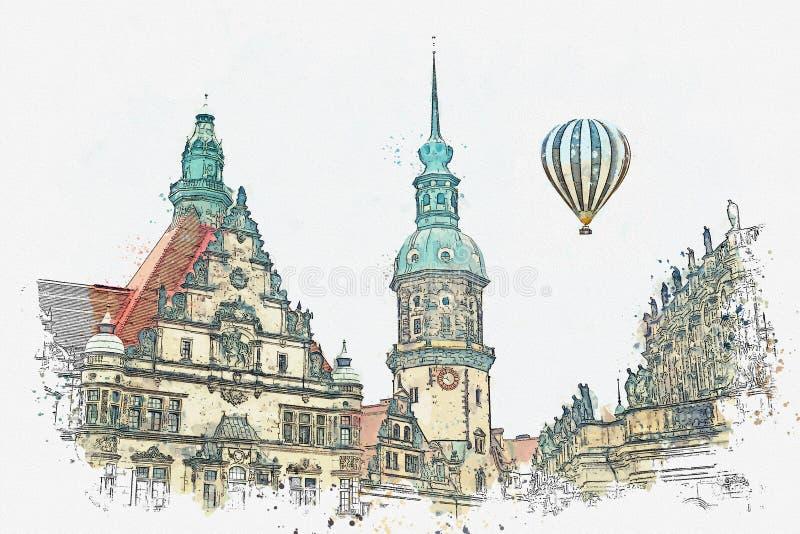 En vattenfärg skissar eller illustrationen Royal Palace och tornet av Gaussmann i Dresden i Tyskland stock illustrationer