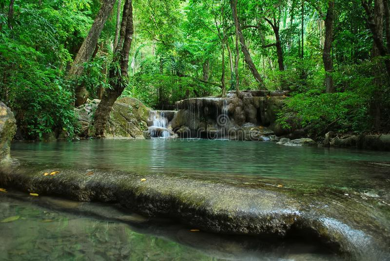 En vattenfall i en djup skog i den Erawan nationalparken royaltyfri fotografi