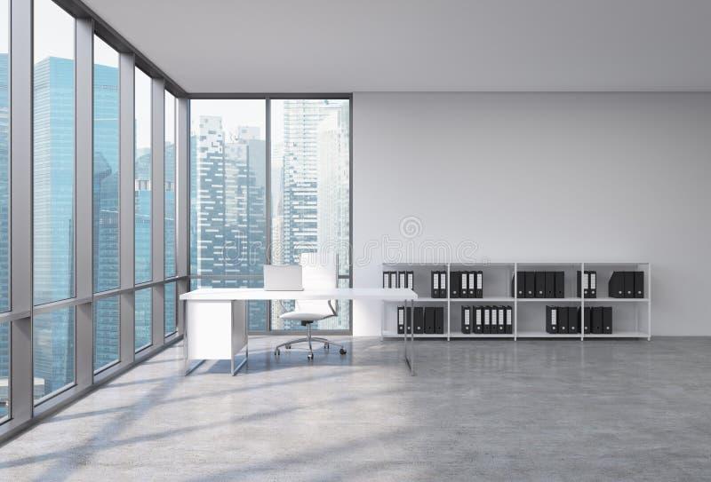 En vdarbetsplats i ett panorama- kontor för modernt hörn med Singapore stadssikt Ett vitt skrivbord med en bärbar dator, en stol  vektor illustrationer