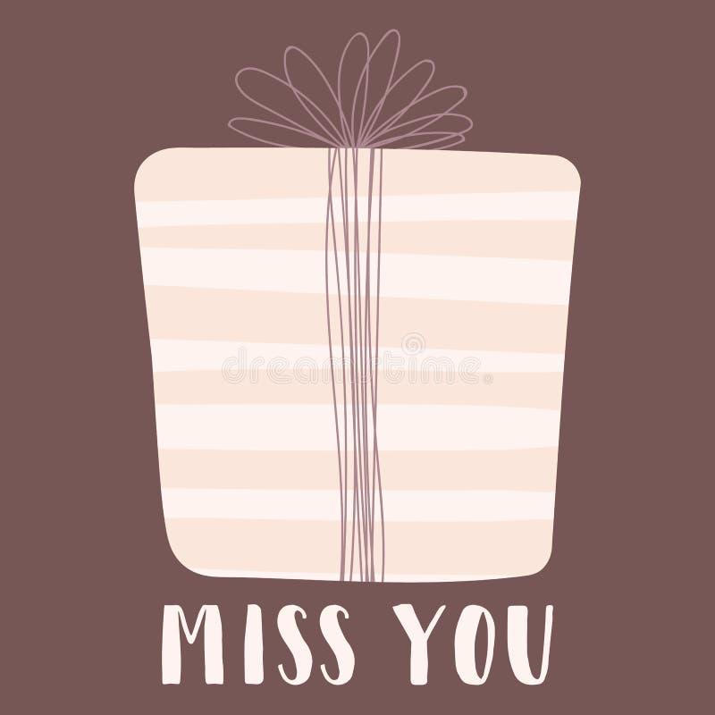 En vektorbild av gåvan med inskriften missa dig Illustration för valentin dag, vänner, tryck, kläder, textiler, bil royaltyfri illustrationer