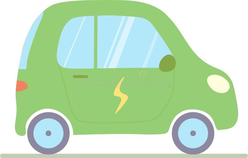En vektorillustration av en elbil som isoleras på en vit bakgrund vektor illustrationer