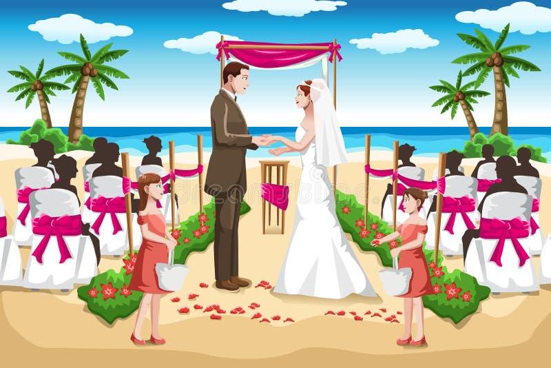 Strandbröllop stock illustrationer