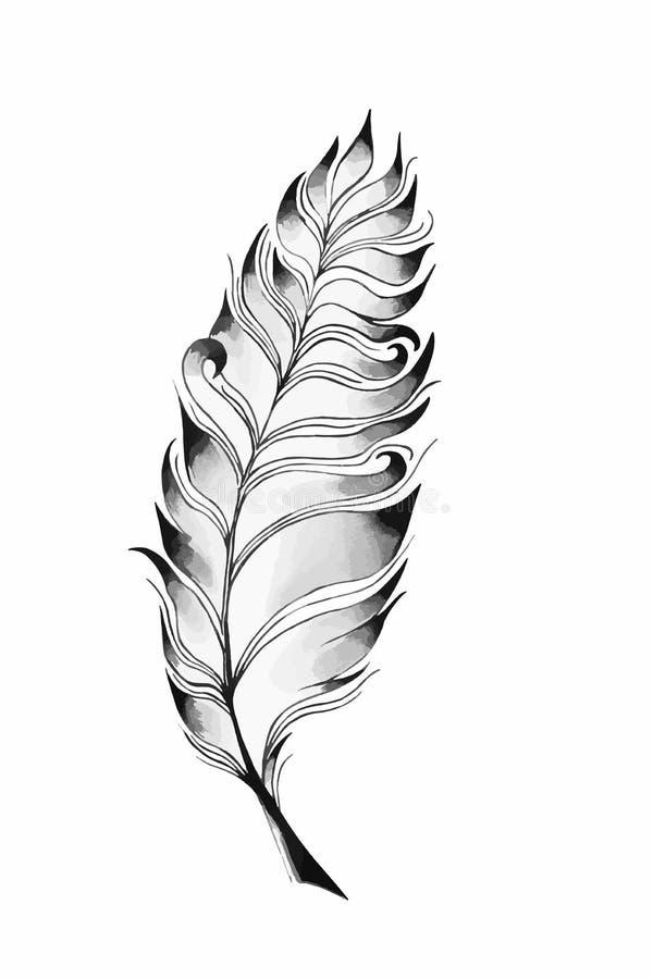 En vektorillustration av en gammalt vingpenna och färgpulver Fjädervingpenna och färgpulver En retro bild av en handstil med ving royaltyfri illustrationer