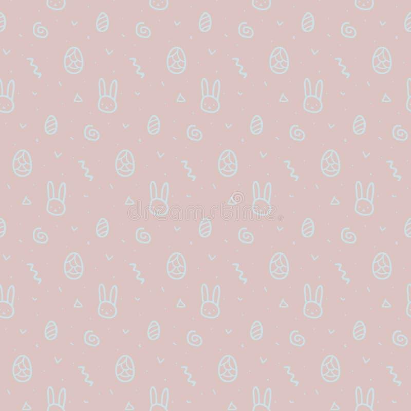 En vektorillustration av lyckliga söta easter fyllde med bakgrund för modellen för easter kaniner och för easter ägg sömlös royaltyfri illustrationer