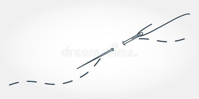 En vektorillustration av visaren med tråden Broderistylization med häftklammer stock illustrationer