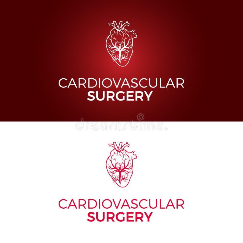 En vektorlogomall planlade för kardiovaskulär kirurgi arkivfoton