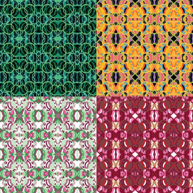 En vektoruppsättning av fyra sömlösa upprepande geometriska blom- och cirkelmodeller stock illustrationer