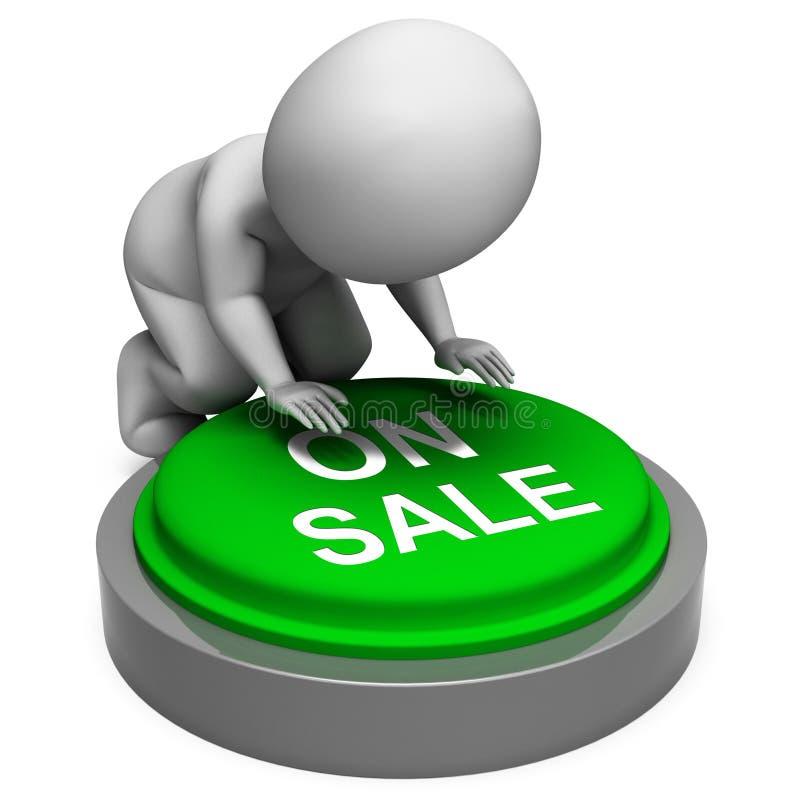 En venta el botón significa descuentos de las promociones ilustración del vector