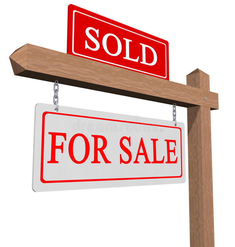 En vente et signe vendu illustration de vecteur