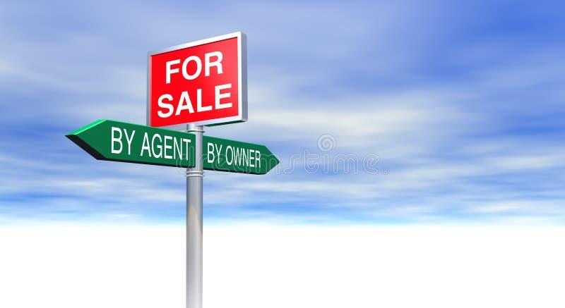 En vente par l'agent ou par concept de signe de propriétaire illustration stock