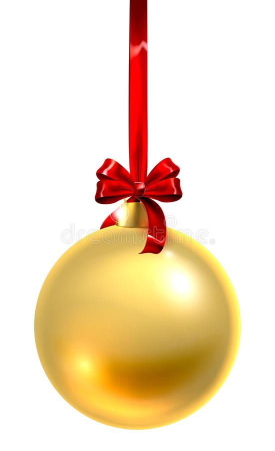 Or en verre d'ornement de boule de Noël de babiole illustration libre de droits