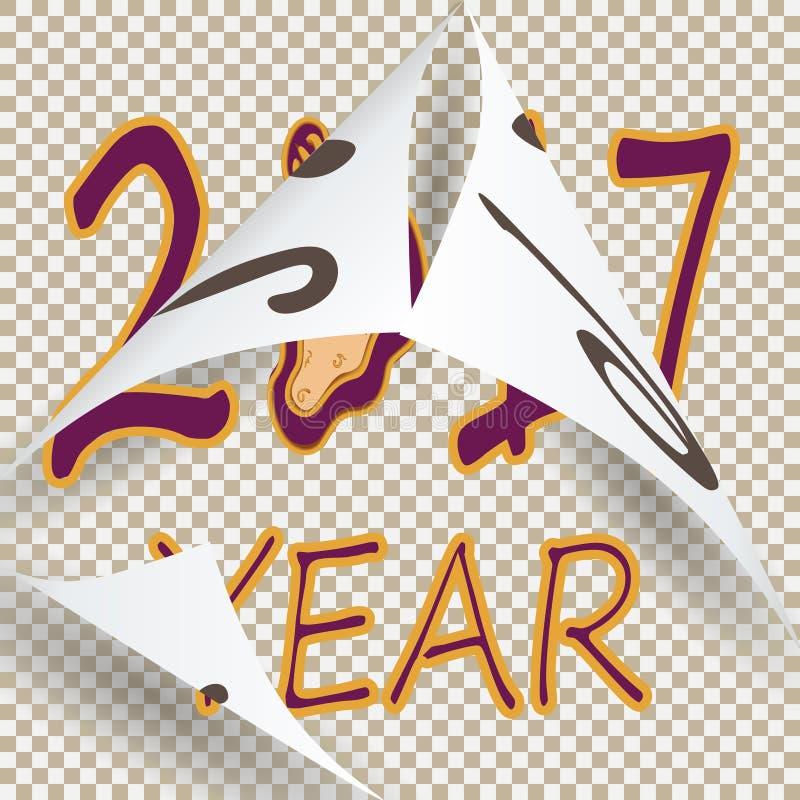 En vintage el estilo que ponía letras a 2017 substituyó el 2016 anterior libre illustration