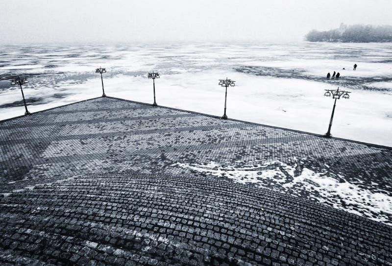 En vinterplats i Dnipro, Ukraina arkivbilder