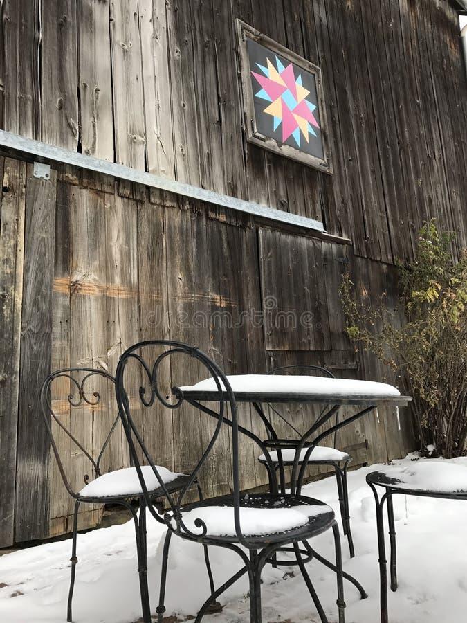 En vinterplats på en Ohio lantgård arkivbilder