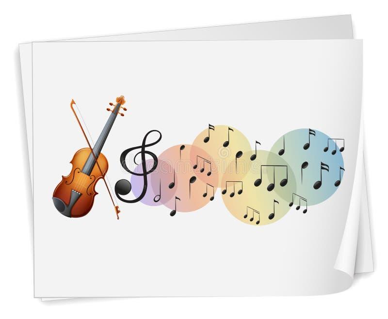 En violen skrivev ut på ett papper med musikaliska anmärkningar vektor illustrationer