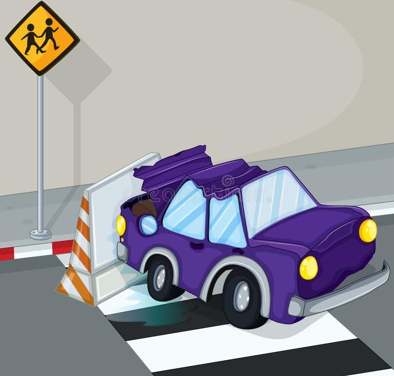 En violett bil som har en olycka på vägen royaltyfri illustrationer