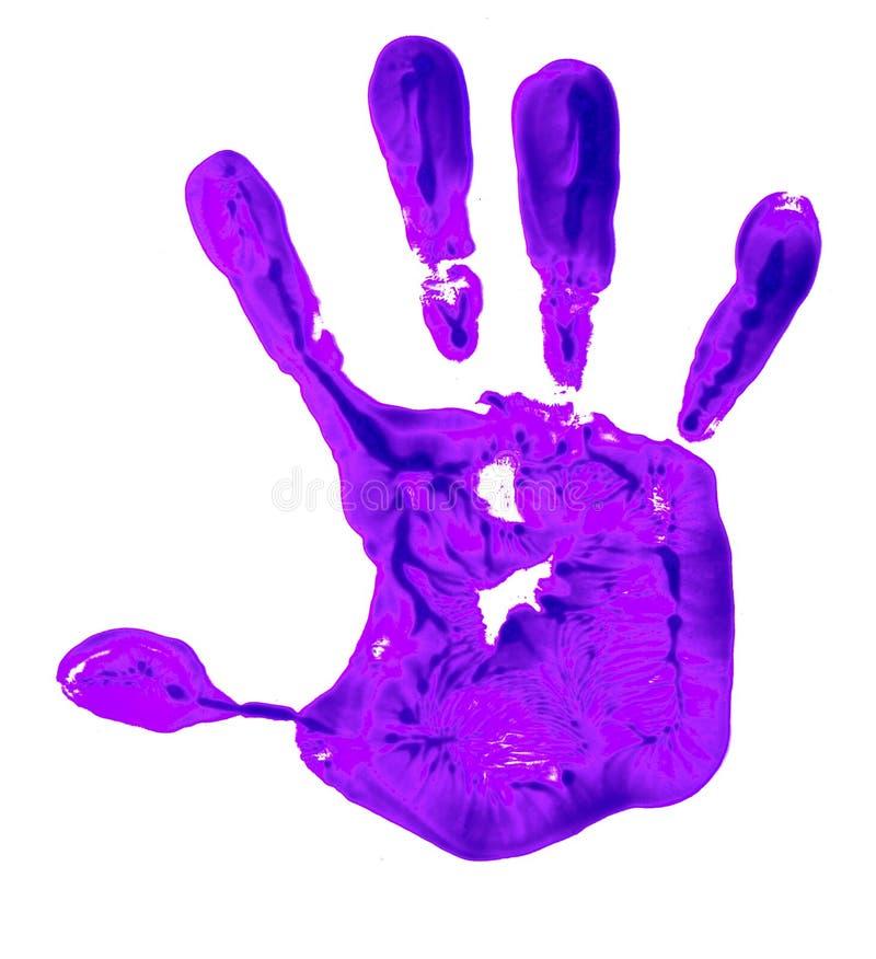En violett färghandprint på en vit bakgrund som visar idén av att stoppa våld mot kvinnor royaltyfri bild