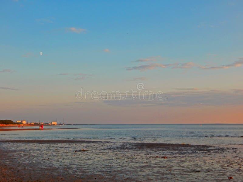 En violett sommarsolnedgång på havskusten på lågvatten arkivfoto
