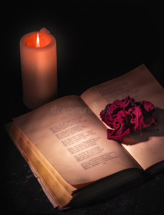 En vissnad röd ros, skjuten närbild, ligger på sidorna av en öppen bok, bredvid brännskador för en stearinljus fotografering för bildbyråer