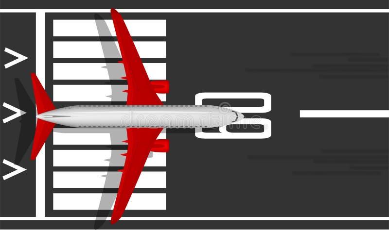 En vit nivå för modern strålpassagerare med röda vingar på landningsbanan ovanför sikt Enplanlagd bild med en mass av den lilla d royaltyfri illustrationer